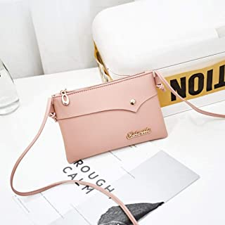 Wultia - Bags Women Retro Solid Color Single Shoulder Bag Handbag Rivets Oblique Cross Bag Logo Letter Bolsa Feminina #0.9 Pink