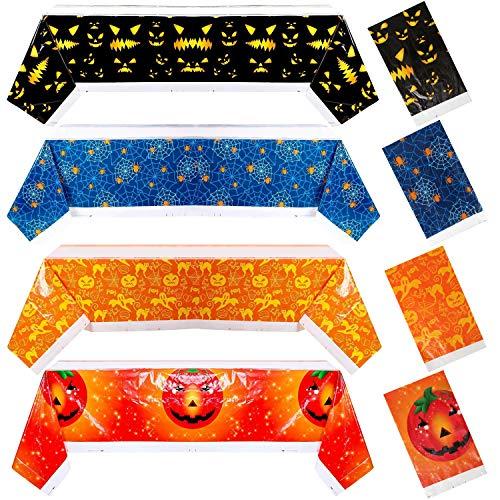 COCOCITY 4 Stücke Einweg Tischdecke Halloween PE Tischtuch Picknicktischabdeckungen Tischdekoration für Halloween Partyzubehör 108x135cm