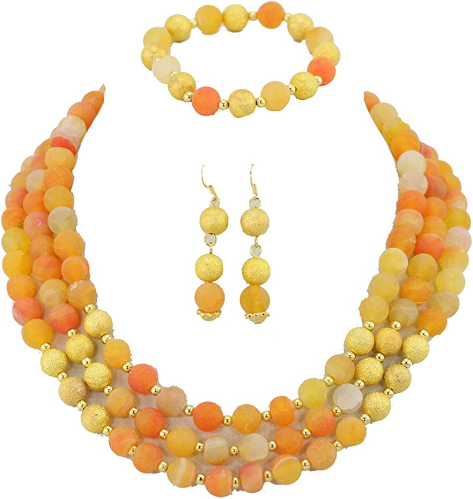 Africanbeads 3 Rows Yellow Detroit Mall Agate Ball High order Set Beads Jewelry African