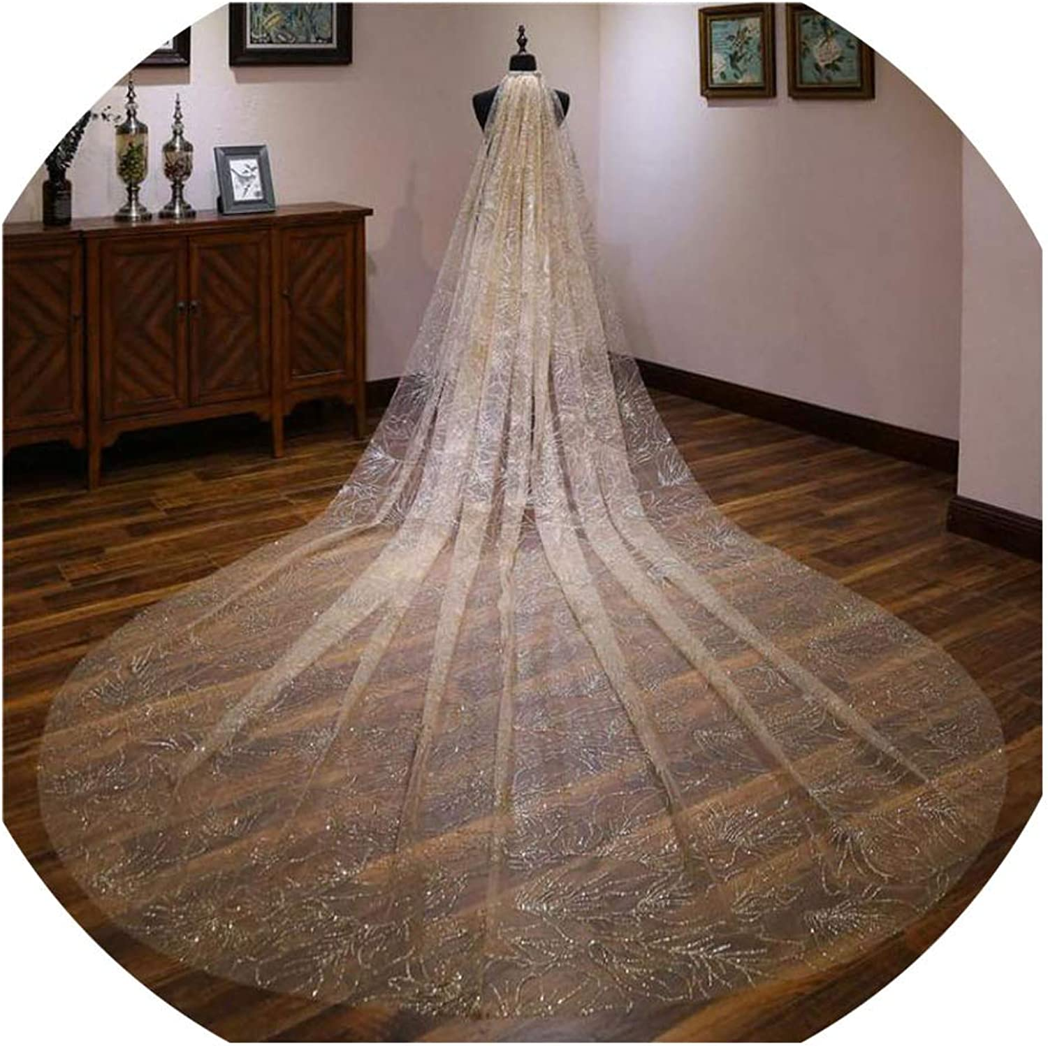 Champagne White Bridal Long Veils One Layer 3 Meters Wedding Veils Marriage Gift,Champagne,300cm