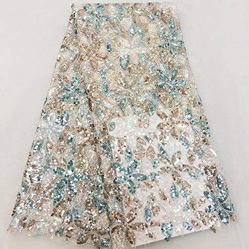 PHBSF Lace Fabric Floral Braut/Hochzeitskleid Stoff Paillettenperlen Mesh Stickstoff Für DIY Craft Making Kleidung Accessoires(Color:Grün,Size:1yard)