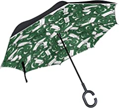 SLEPOPO Inverted Umbrella,Windproof UV Protection Big Straight Umbrella with C-Shaped Handle and Carrying Bag Pakistan Flag Pattern Double Layer Reverse