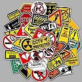 MYOMY Paquete de Pegatinas 50 Piezas Señal de Advertencia Personalidad Graffiti Etiqueta de Coche Funda de Viaje Impermeable Etiqueta extraíble