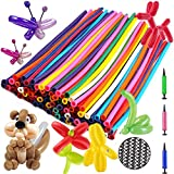 Balloon Animals Kit Twisting Balloons (100pcs) with Unbreakable Air Pump – OOTSR 260Q Latex Long Balloons for Animal Shape Party, Birthday, Clowns, Wedding Decorations w/Eye Stickers and Hand Pump