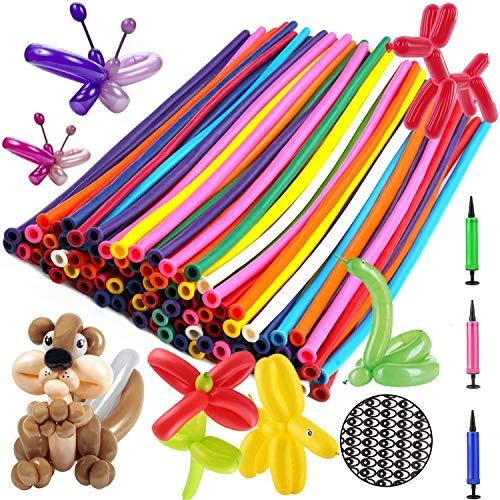 OOTSR Magic Luftballons, 100 Stück Modellierballons bunt Luftballon Original mit professioneller Luftpumpe und Augenaufkleber für Hochzeit Geburtstage Party