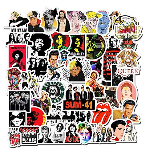 PMSMT 50 Uds Rock Roll Hip Hop Punk Pegatinas de Banda de música calcomanías Impermeables Nevera Coche Motocicleta portátil Guitarra Pegatina niños Juguete clásico