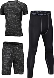 Fitness Running Compression Suits Shirt Pants Short Pack Of 3 For Men Size L