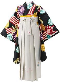 ジュニア女の子着物袴セット 黒 菊に笹×ライトグレー刺繍