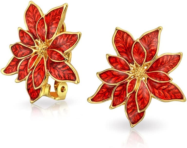 Christmas Holiday Red Enamel Flower Shape Poinsettia Clip On Earrings For Women Non Pierced Ears 14K Gold Plated 1 Inch