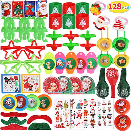Max Fun 128Pcs Christmas Party Toys Assortment Stocking Stuffers for Christmas Party Favors Prizes Box Toy Assortment Classroom