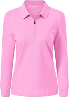 JINSHI Women's Golf Polo Shirt Long Sleeves Zip Up Sport Active Shirts Quick Dry Athletic T-Shirt Casual Tennis Tops Slim Fit