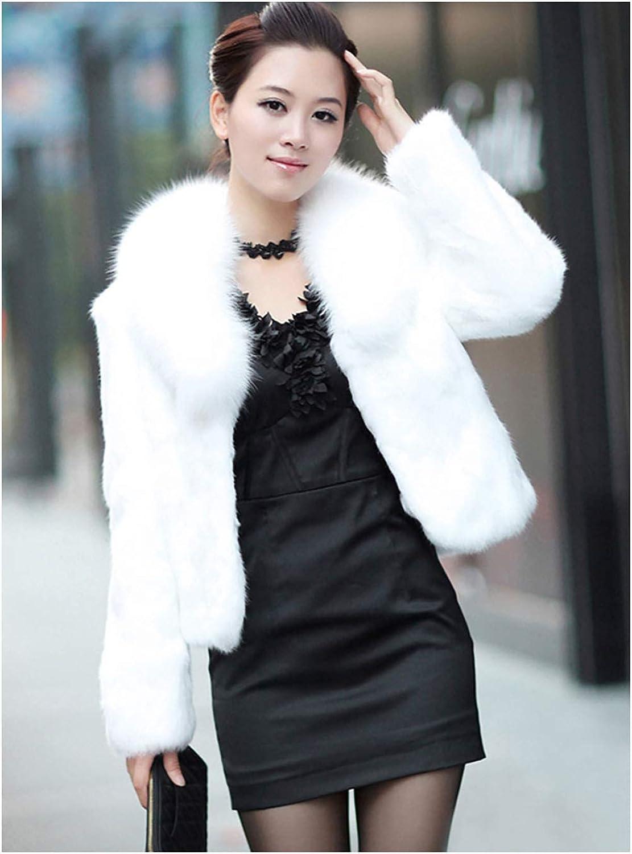 Drecode Women Winter Faux Fur Coat Long Sleeve Mink Fur Outcoat Fashion Fur Vest for Women and Girls White