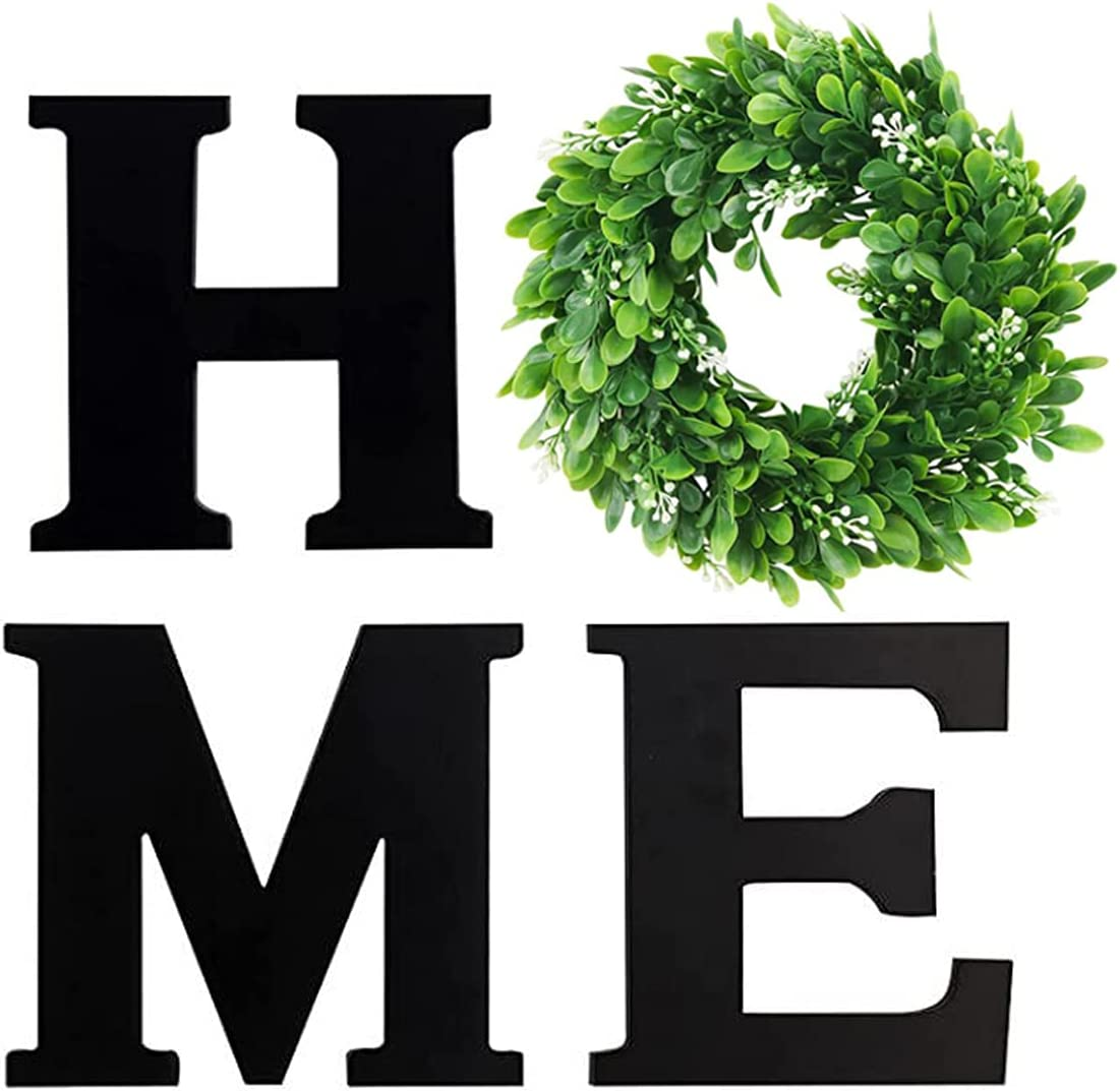 Wood Letters for Wall Decor- Modern Decor for Home Decor for Living Room Decor, Entry Way, Kitchen, Rustic Wooden Home Letters for Wall Decor with Artificial Eucalyptus Leaves Wreath, Housewarming Gift (Black)