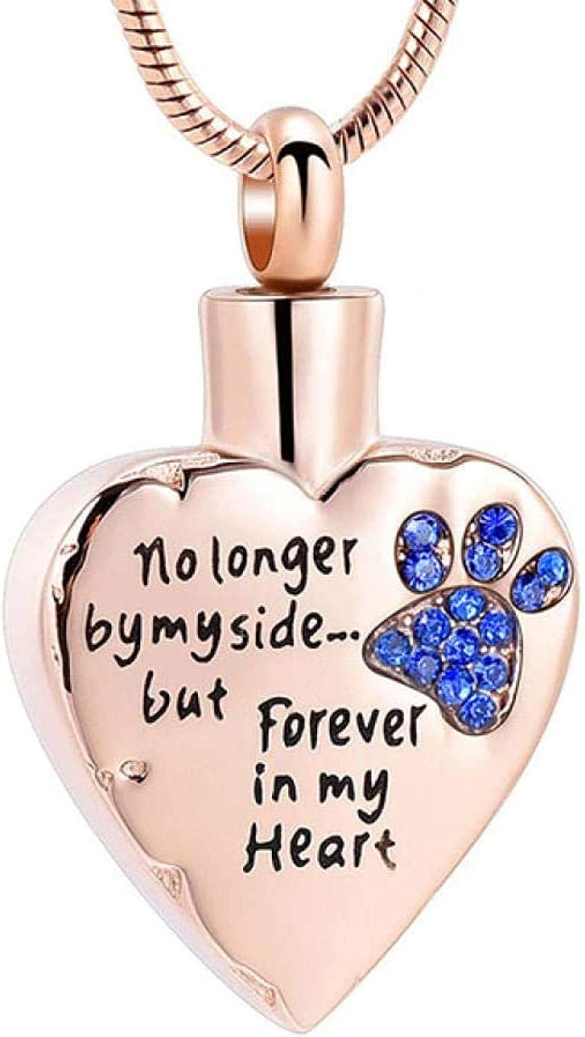 Ashes Memorial No Longer by My Side but Forever in My Heart Cremation Jewelry for Ashes Stainless Steel Pet Paw Keepsake Memorial Urn Necklace