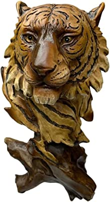 "Faux Wood Large Blue Eyed White Tiger Bust Statue 11/""H Wildlife Siberian Tiger"