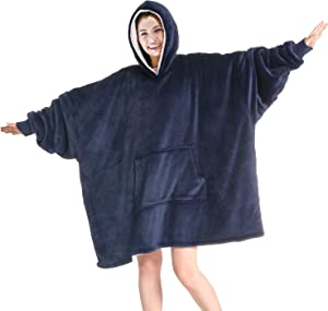 Touchat Wearable Blanket Hoodie, Oversized Sherpa Blanket Sweatshirt with Hood Pocket and Sleeves, Super Soft Warm Comfy Plush Hooded Blanket for Adult Women Men, One Size Fits All (NavyBlue)
