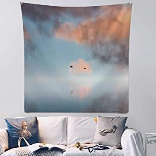 Hitecera Two Ducks Flying in Sunset Tapestry Wall Hanging,118751 Wall Art for Bedroom,59.1x59.1inch