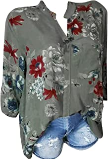 Xinantime Womens Tops Vintage Printing Pocket Blouse Plus Size Buttons Roll Up Long Sleeves Easy Shirt Tunic