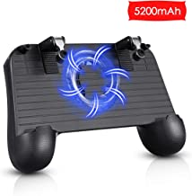 Pubg Mobile Controller with Cooling Fan 5200mah Power Bank, Mobile Gaming Trigger for PUBG/Fortnite/Rules of Survival, Phone Controller for Android/iOS (Black)