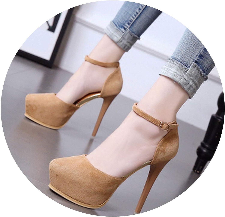 HANBINGPO Waterproof Platform Stiletto Single shoes Classic Retro Roman Simple Elegant Sexy High Heels