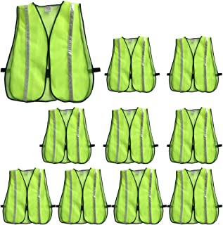 ZOJO High Visibility Safety Vests,Adjustable Size,Lightweight Mesh Fabric, Wholesale Reflective Vest for Outdoor Works, Cycling, Jogging, Walking,Sports- Fits for Men and Women (10 Pack, Neon Yellow)