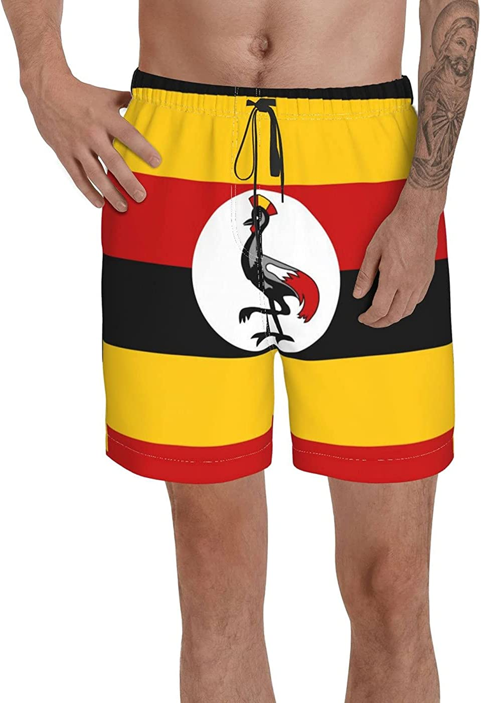 Count Uganda Flag Men's 3D Printed Funny Summer Quick Dry Swim Short Board Shorts with