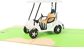 PopLife Golf Cart 3D Pop Up Fathers Day Card - Happy Anniversary Pop Up Card for Dad, Birthday Popup, Retirement Party - Golfing Gift for Husband, Greeting Card for Golfers - for Son, for Father, Boss