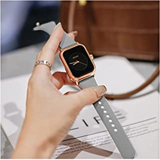 Women's Wristwatches, Rectangular Dial, Simple and Stylish Silicone Strap, Classic Quartz Wristwatch (Color : Gray)