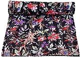 Sophia Art Hand Made Bird Print King Size Kantha Quilt, Kantha Blanket, Bed Cover, King Kantha Bedspread, Bohemian Bedding Kantha Size 90 Inch x 108 Inch (Black)