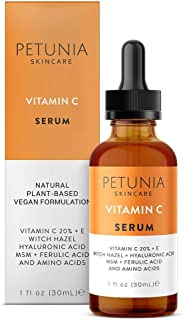 Vitamin C Serum for Face 20% with Hyaluronic Acid and Ferulic Acid, Fades Sun Damage, Dark, Age Spots, Natural Organic Ski...