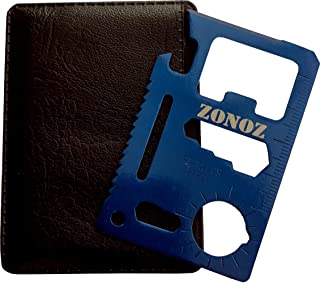 Zonoz Z-Tool - 11 in 1 Function Stainless Steel Multi Tool - Multi-Function Outdoor Hunting Survival Tool Card Camping Pocket Military Credit Card Knife (Blue)