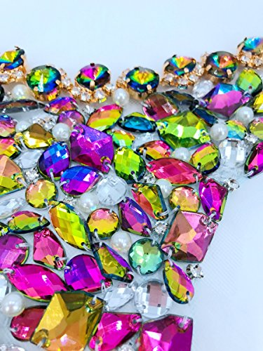 bridallaceuk Rhinestones Sequins Beads Applique Crystals Patches 16.5x14.5 inches Dress Accessory,Sewing for Evening Prom Dress Multicolor