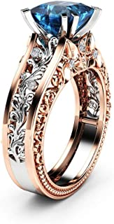 Winsopee Fashion Women Promise Engagement Ring Color Separation Rose Gold Exquisite Wedding Floral Ring