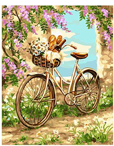 Home Decor Canvas Schilderij op nummer Kleurplaat-Bloem zee fiets 16