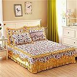 Amswsi Couvre-lit en Coton épaissi côté 1,8 m Matelas en Coton Housse de Protection antidérapante-Domeiya Rouge_1.8 * 2.0 Jupe de lit Simple