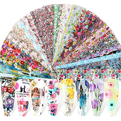 UFLF 80 Blatt Nagelfolie Transfer Valentinstag Nägel Transferfolie Nagelaufkleber Nail Art Stickers Nageltattoos Nagel Decals DIY Nagelkunst Nageldesign