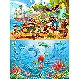 GREAT ART® Juego de 2 pósteres infantiles – Aventuras en el mar – Niñas niños mundo acuático pirata fondo sirena póster foto decoración de pared cuadro (Din A2 – 42 x 59,4)