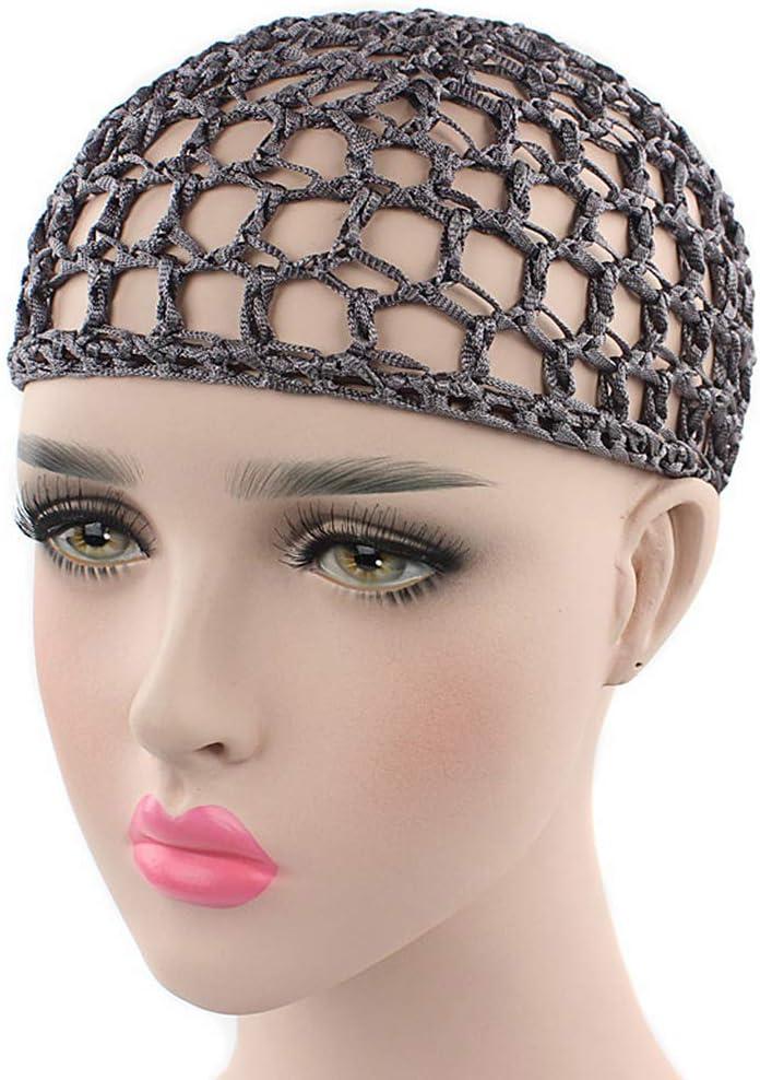 JOYKK Damen Netz Haarnetz H/äkeln Kappe Einfarbig Snood Sleeping Night Abdeckung Turban 13# Grau