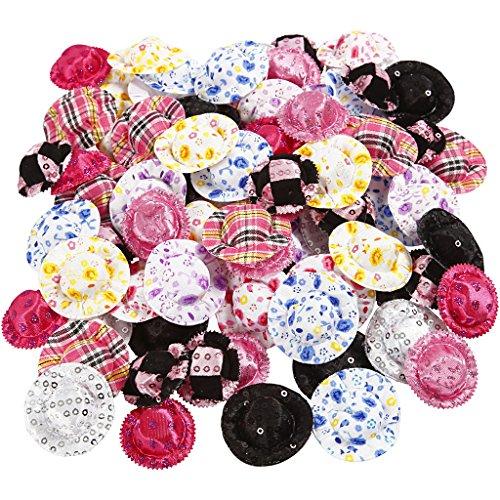 Mini-Hüte, D: 4 cm, verschiedene Farben, 100 Stück