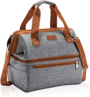 Insulated Lunch Bag, Lunch Box for Women Adult with Double Deck Large Capacity Removable Shoulder Strap Cute Thermal Leakproof Meal Prep Cooler Bento Lunch Bag for Work Picnic Gym Travel Gray & Brown