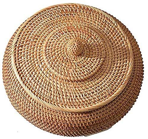 Cajas de ratán con tapas Bandeja de mimbre multiusos tejida a una mano con fibra de ratán duradera de 11 pulgadas de diámetro redondo