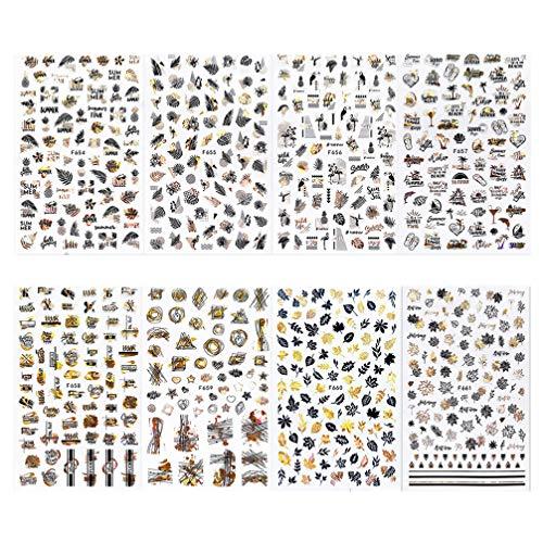 Pixnor 8 Pcs Autocollants à Ongles Métalliques 3D Nail Art Décalcomanies Or Nail Tip Autocollant Nail Patch pour Nail Art Design