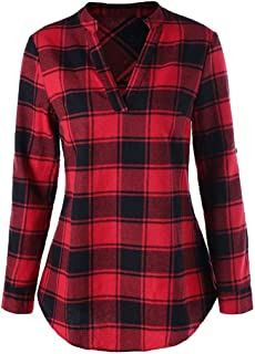 Henley Shirts for Women, Ladies Plaid Long Sleeve V-Neck Shirt Tops Curved Hem Tunic Blouse