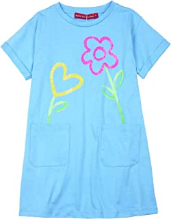 Girl's T-Shirt Dress with Flowers, Sizes 4-12