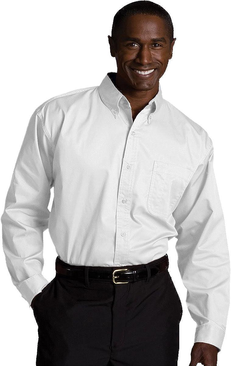 Ed Garments Men's Wrinkle Resistant Twill Shirt, WHITE, Large Tall