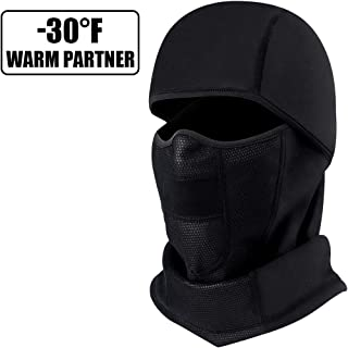 Ski Mask Winter Balaclava, Windproof Breathable Face Mask Waterproof Cold Weather Fleece Thermal Ski Hood, Skiing Motorcycle Bike Cycling Hunting Outdoor Neck Warmer Winter Great for Men Women Black
