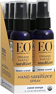 EO Organic Hand Sanitizer Spray, Sweet Orange, Travel-Size, 2 Ounces, 6 Count