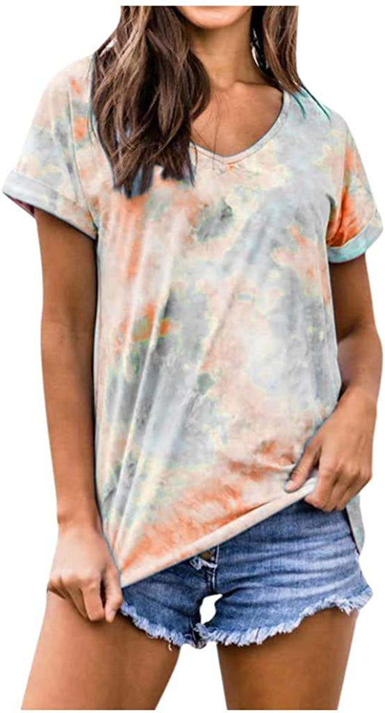 AODONG Women Short Sleeve Tops,Women's Casual Print O-Neck Loose T-Shirt Tunic Blouse Tops