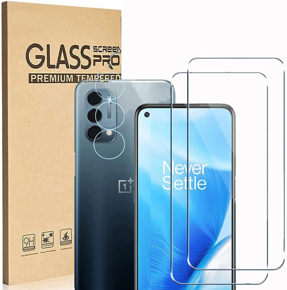 [2+2 Pack] Ranyi Compatible with OnePlus Nord N200 5G 2021 Screen Protector + Camera Lens Protector, 9H Hardness Anti-Scratch HD Clear No Bubble Tempered Glass Screen Protector Protective Film