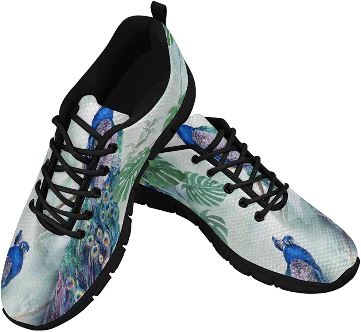 InterestPrint Peacock with Palm Tree Leaves Painting Women's Athletic Walking Shoes Breathe Comfort Mesh
